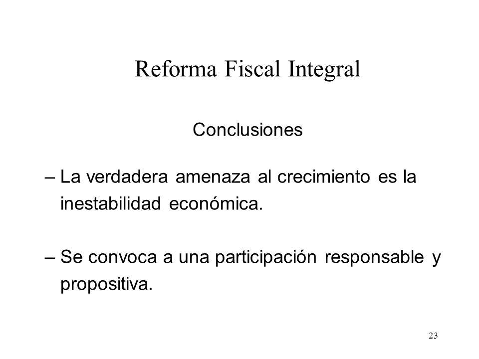 23 Reforma Fiscal Integral Conclusiones – La verdadera amenaza al crecimiento es la inestabilidad económica. – Se convoca a una participación responsa