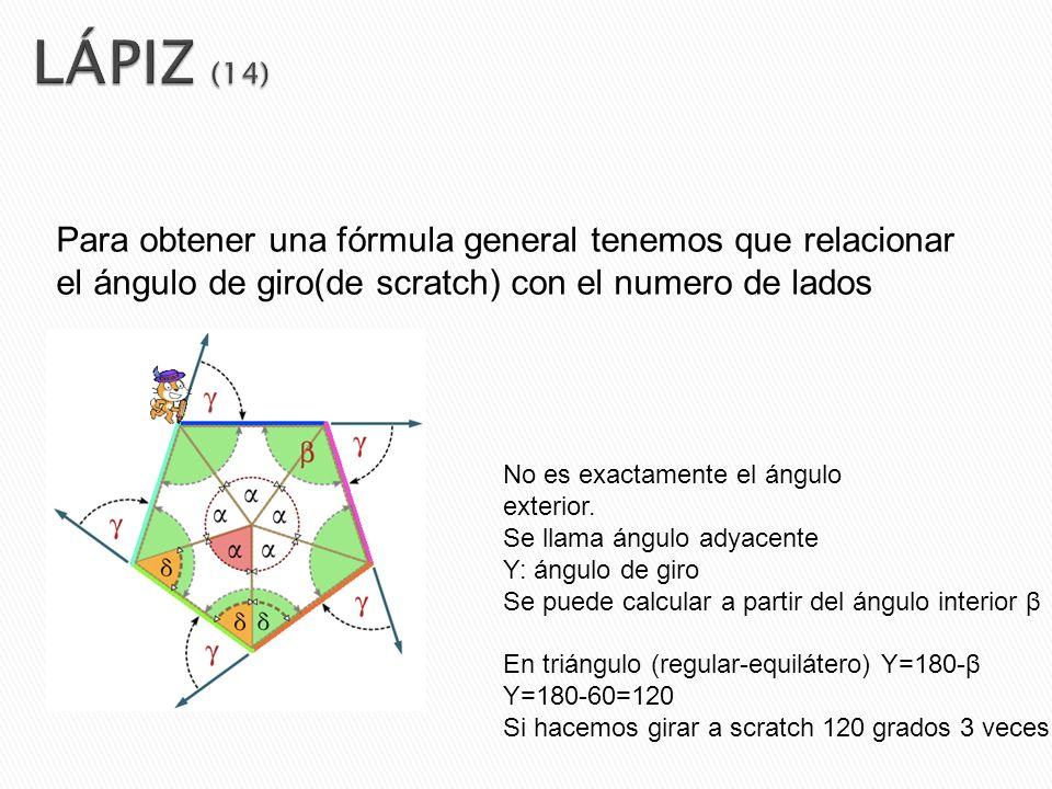 Para obtener una fórmula general tenemos que relacionar el ángulo de giro(de scratch) con el numero de lados No es exactamente el ángulo exterior. Se