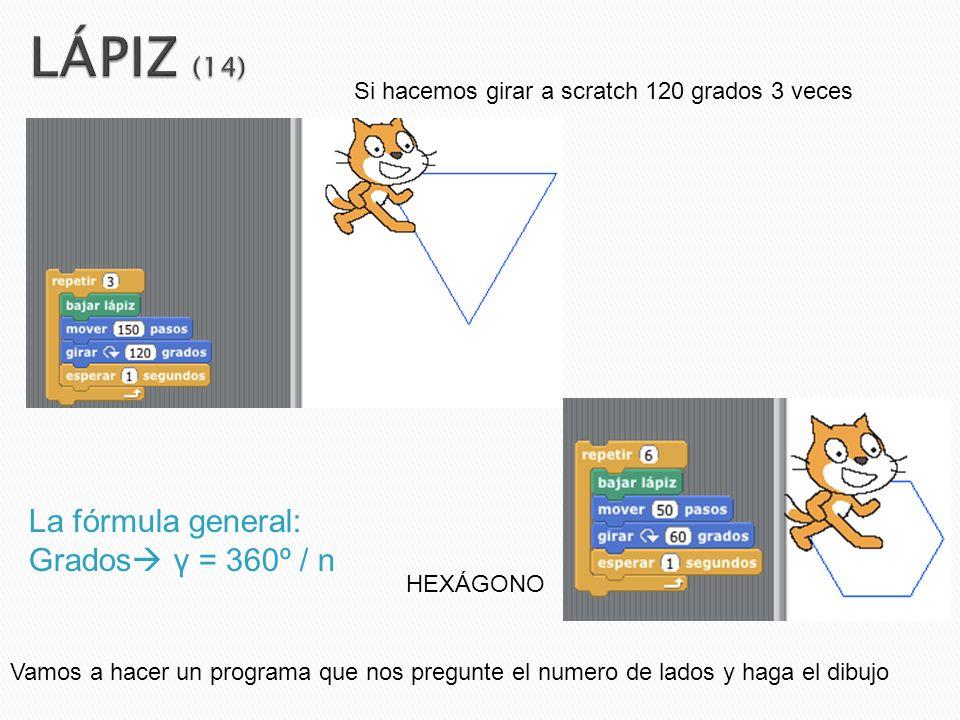 La fórmula general: Grados γ = 360º / n Si hacemos girar a scratch 120 grados 3 veces HEXÁGONO Vamos a hacer un programa que nos pregunte el numero de