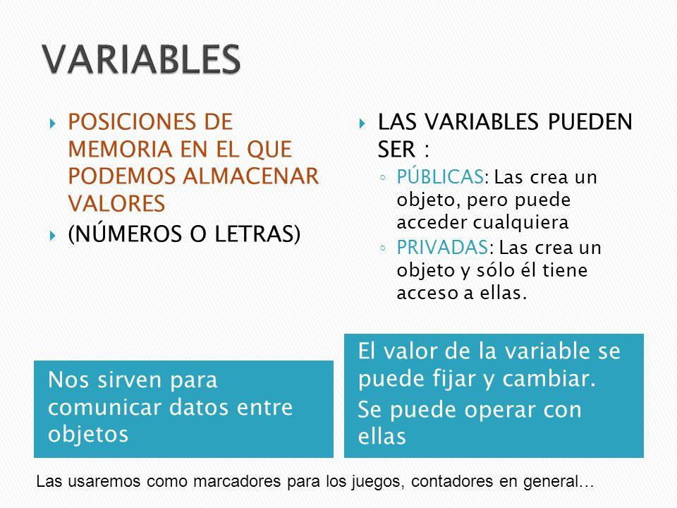 Nos sirven para comunicar datos entre objetos El valor de la variable se puede fijar y cambiar. Se puede operar con ellas POSICIONES DE MEMORIA EN EL