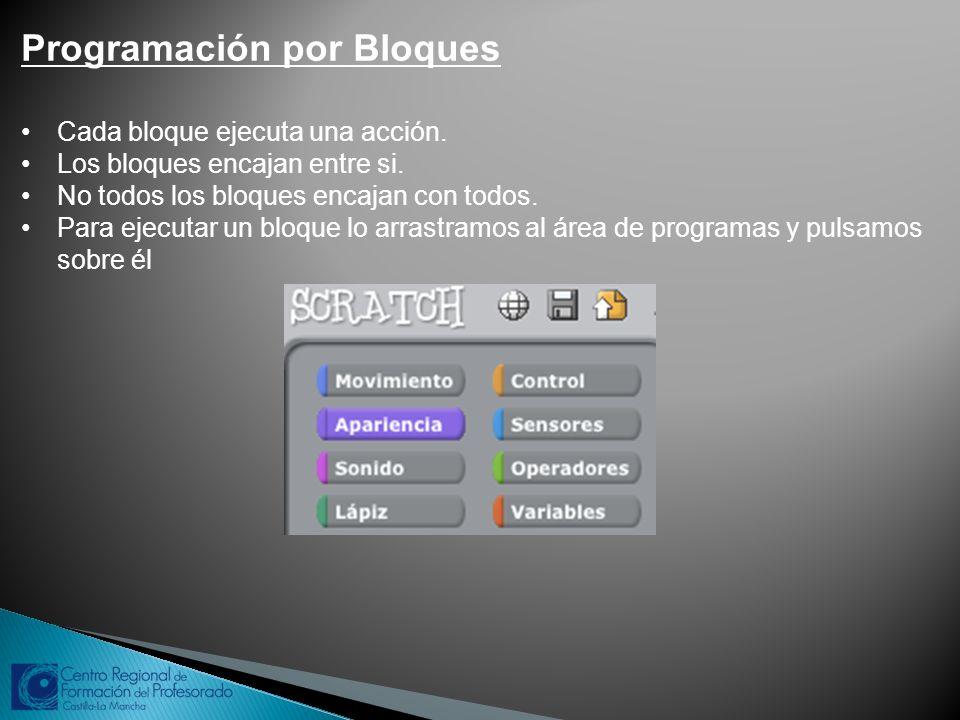 Programación por Bloques Cada bloque ejecuta una acción. Los bloques encajan entre si. No todos los bloques encajan con todos. Para ejecutar un bloque