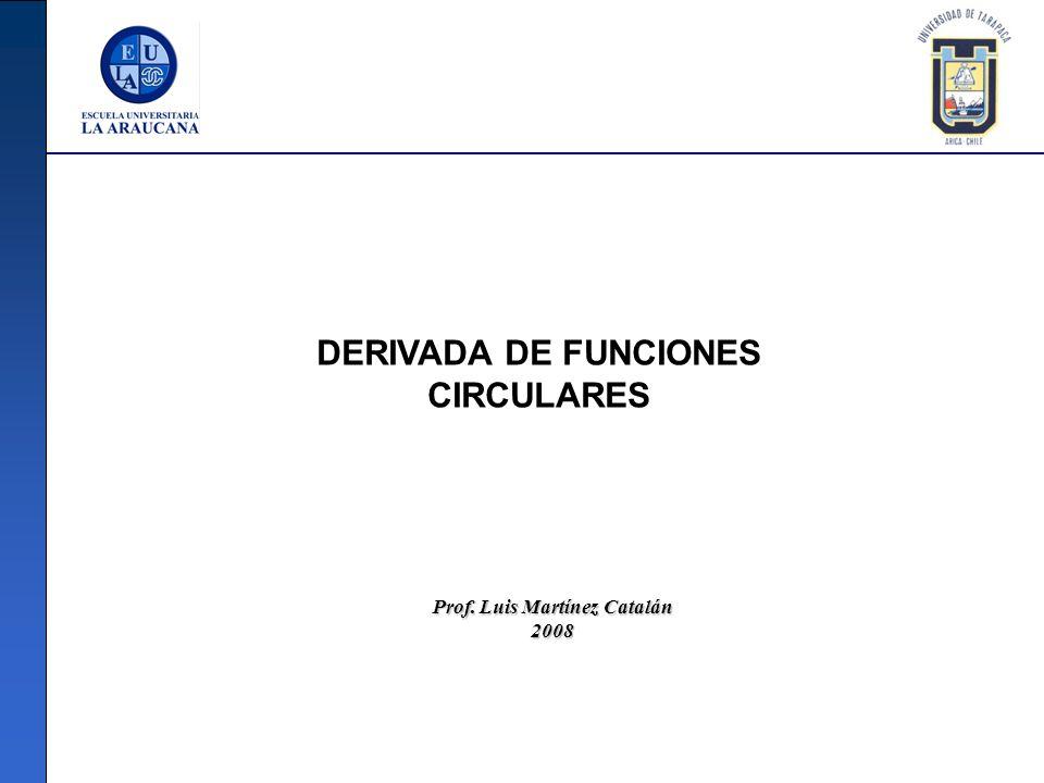 DERIVADA DE FUNCIONES CIRCULARES Prof. Luis Martínez Catalán 2008