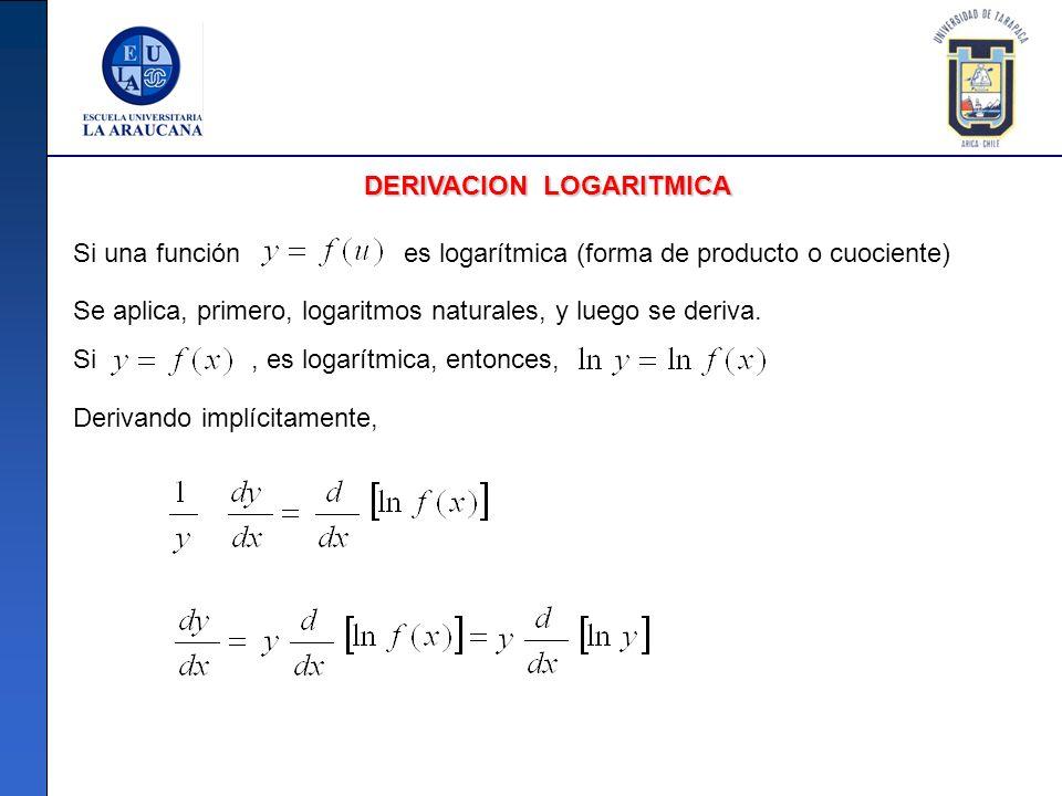 DERIVACION LOGARITMICA Si una función es logarítmica (forma de producto o cuociente) Se aplica, primero, logaritmos naturales, y luego se deriva. Si,