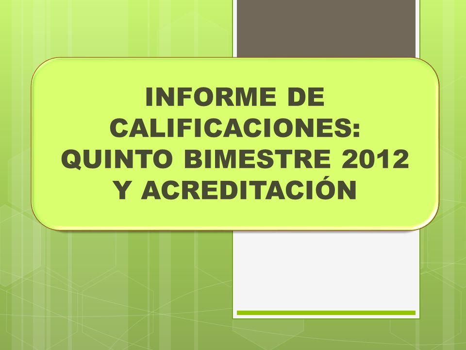 INFORME DE CALIFICACIONES: QUINTO BIMESTRE 2012 Y ACREDITACIÓN