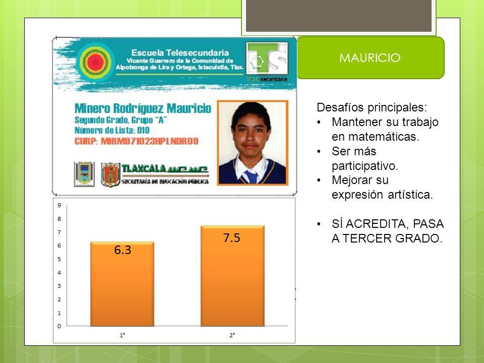 MAURICIO Desafíos principales: Mantener su trabajo en matemáticas.