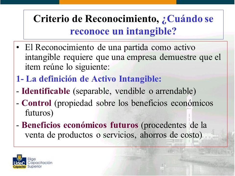 Criterio de Reconocimiento, ¿Cuándo se reconoce un intangible.