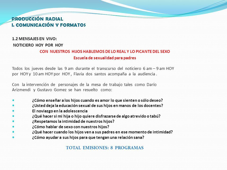 PRODUCCIÓN RADIAL 1.3 PROGRAMA DE RADIO SEX AND LOVE 9 PROGRAMAS DE 9 A 12 P.M.