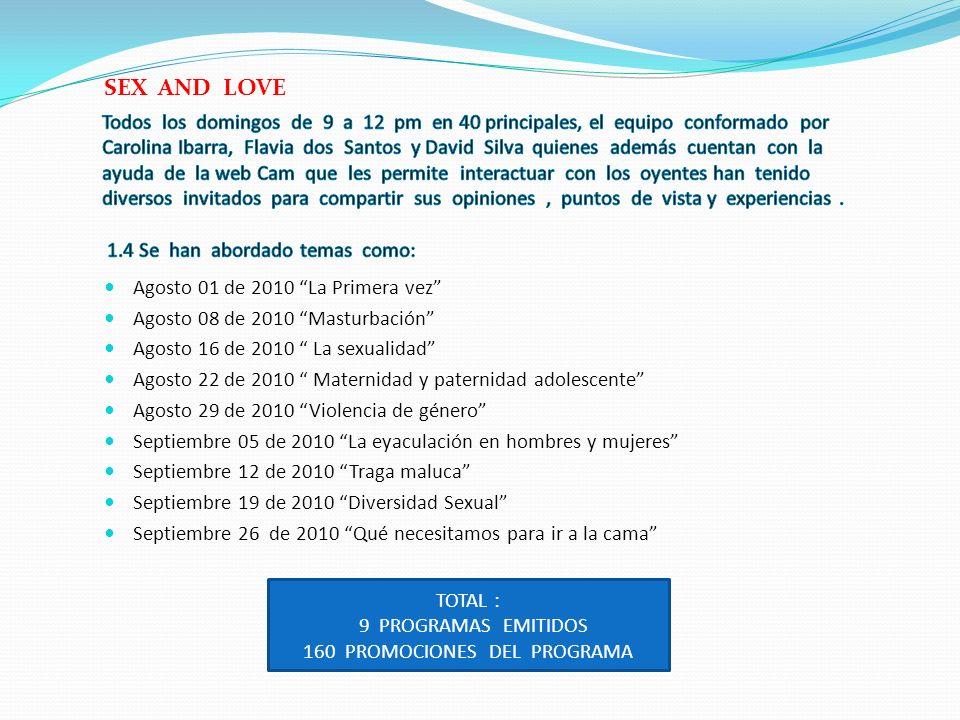 Agosto 01 de 2010 La Primera vez Agosto 08 de 2010 Masturbación Agosto 16 de 2010 La sexualidad Agosto 22 de 2010 Maternidad y paternidad adolescente