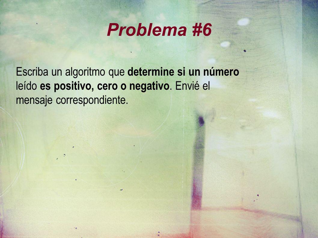 Problema #6 Escriba un algoritmo que determine si un número leído es positivo, cero o negativo. Envié el mensaje correspondiente.