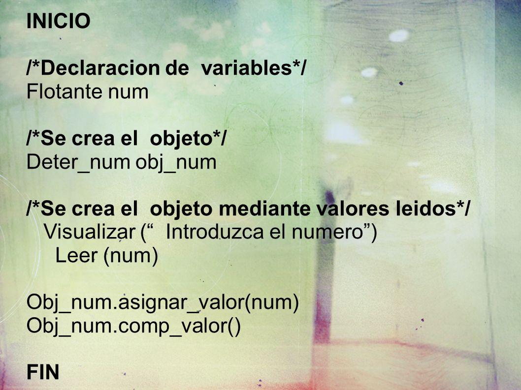 INICIO /*Declaracion de variables*/ Flotante num /*Se crea el objeto*/ Deter_num obj_num /*Se crea el objeto mediante valores leidos*/ Visualizar ( Introduzca el numero) Leer (num) Obj_num.asignar_valor(num) Obj_num.comp_valor() FIN