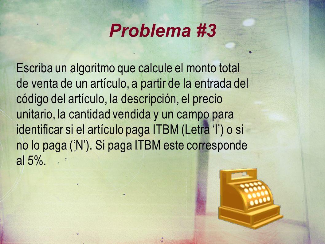 Problema #3 Escriba un algoritmo que calcule el monto total de venta de un artículo, a partir de la entrada del código del artículo, la descripción, el precio unitario, la cantidad vendida y un campo para identificar si el artículo paga ITBM (Letra I) o si no lo paga (N).