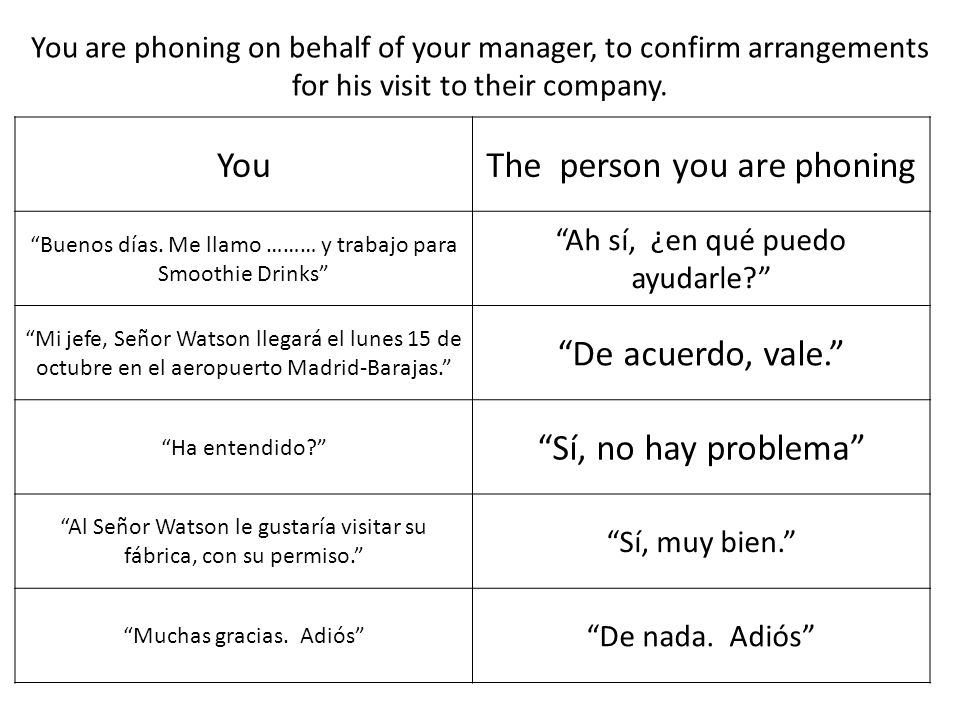 YouThe person you are phoning Buenos días.