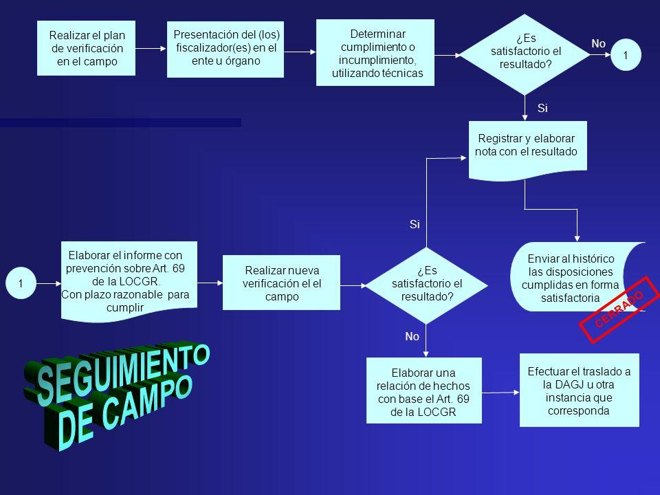 Presentación del (los) fiscalizador(es) en el ente u órgano ¿Es satisfactorio el resultado? Realizar el plan de verificación en el campo Elaborar una