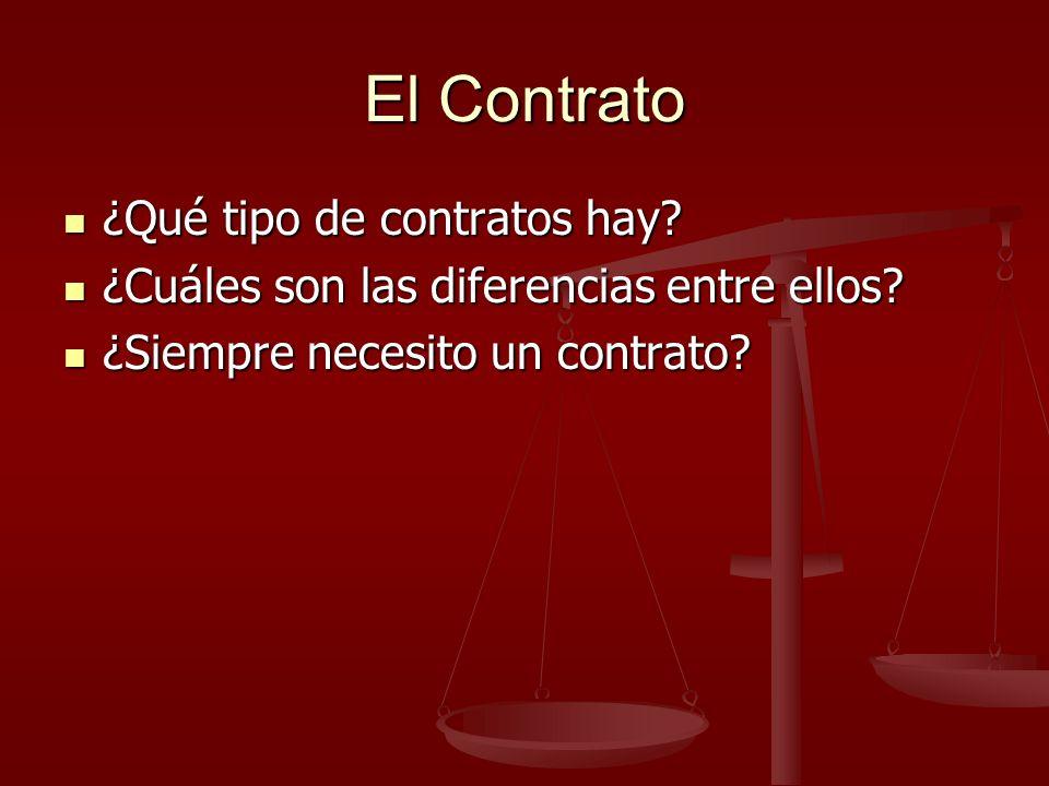 El Contrato ¿Qué tipo de contratos hay. ¿Qué tipo de contratos hay.