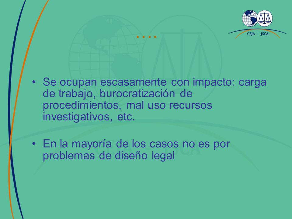 …. Se ocupan escasamente con impacto: carga de trabajo, burocratización de procedimientos, mal uso recursos investigativos, etc. En la mayoría de los