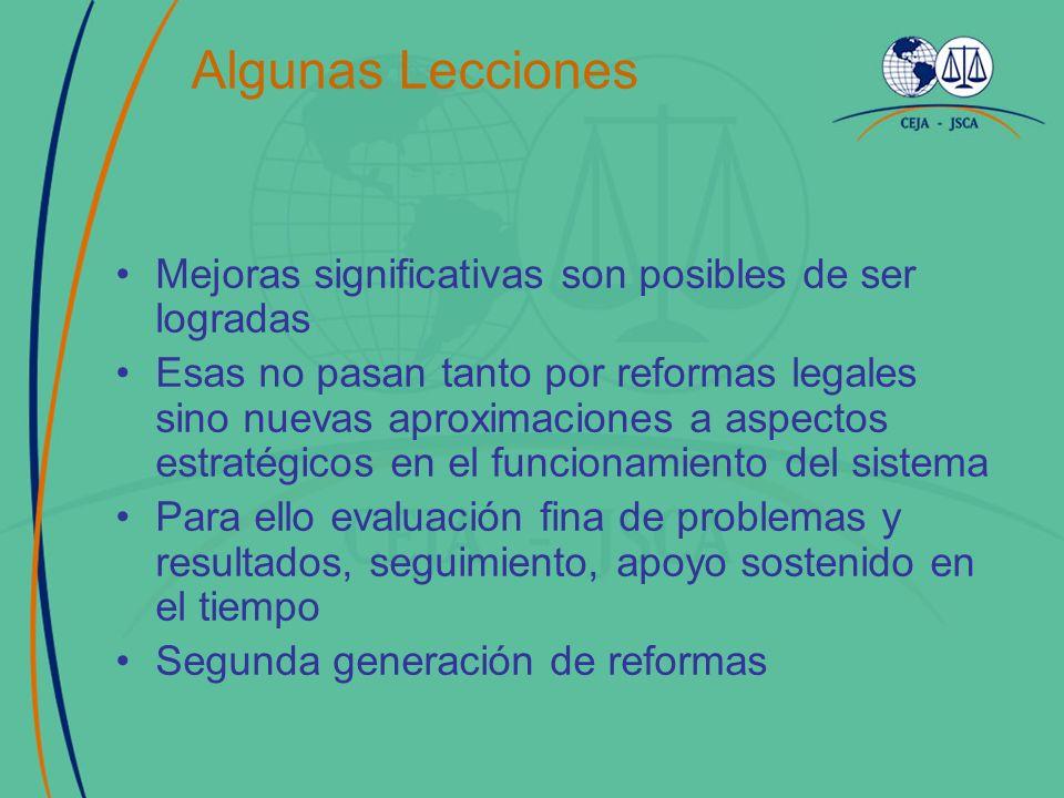 Algunas Lecciones Mejoras significativas son posibles de ser logradas Esas no pasan tanto por reformas legales sino nuevas aproximaciones a aspectos estratégicos en el funcionamiento del sistema Para ello evaluación fina de problemas y resultados, seguimiento, apoyo sostenido en el tiempo Segunda generación de reformas