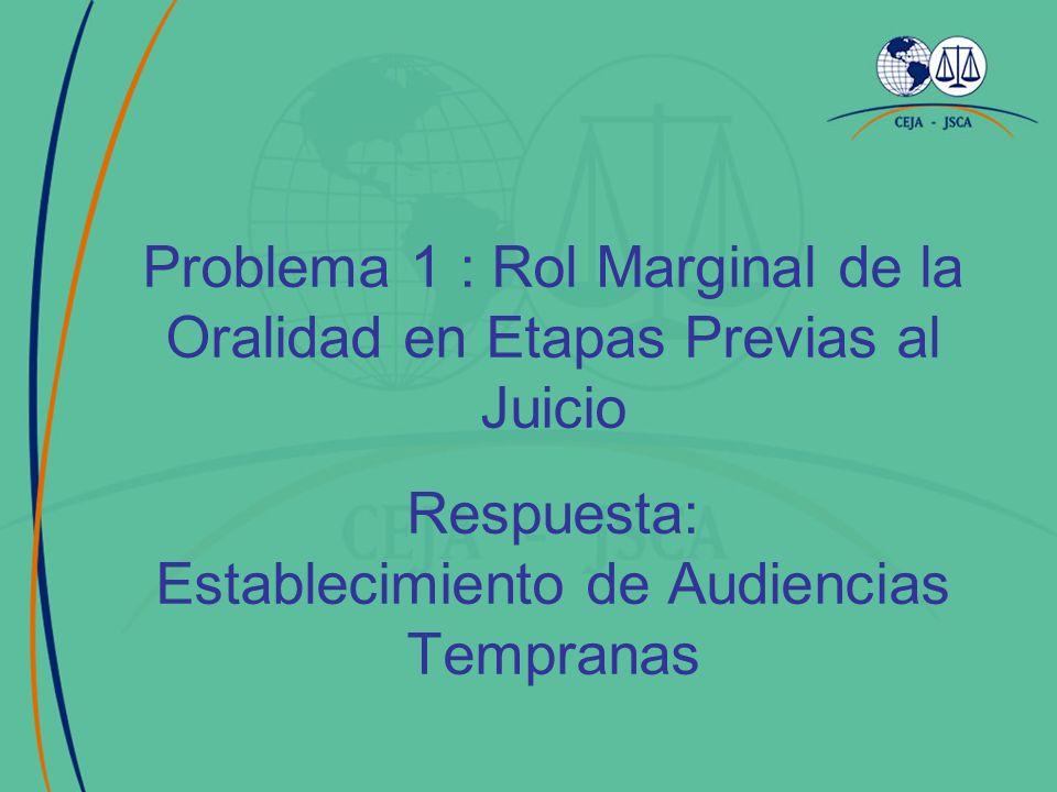 Problema 1 : Rol Marginal de la Oralidad en Etapas Previas al Juicio Respuesta: Establecimiento de Audiencias Tempranas