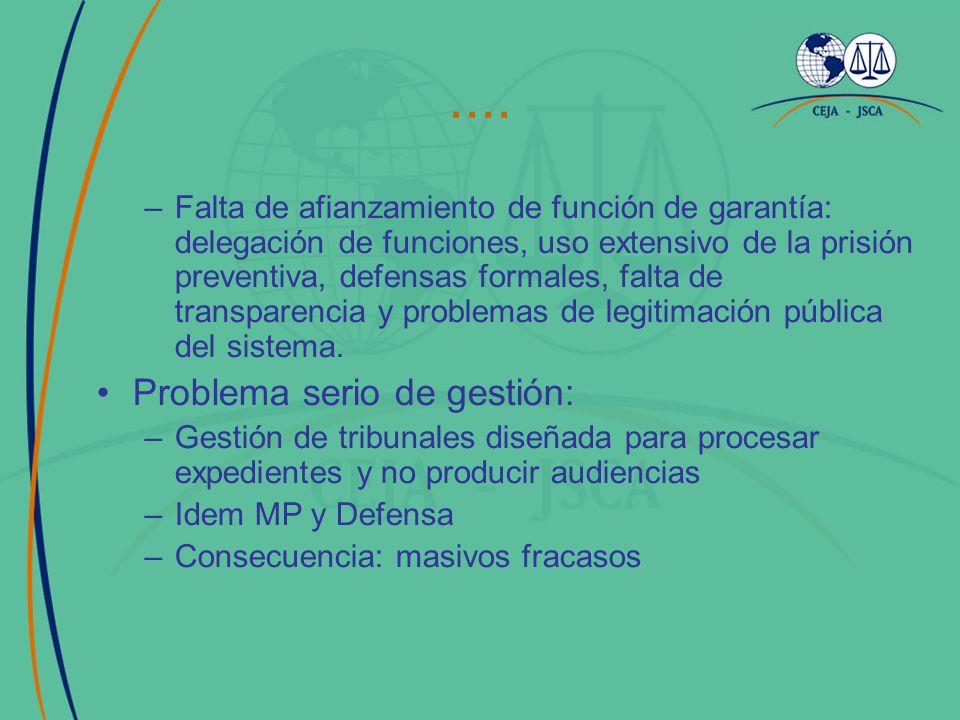 .... –Falta de afianzamiento de función de garantía: delegación de funciones, uso extensivo de la prisión preventiva, defensas formales, falta de tran