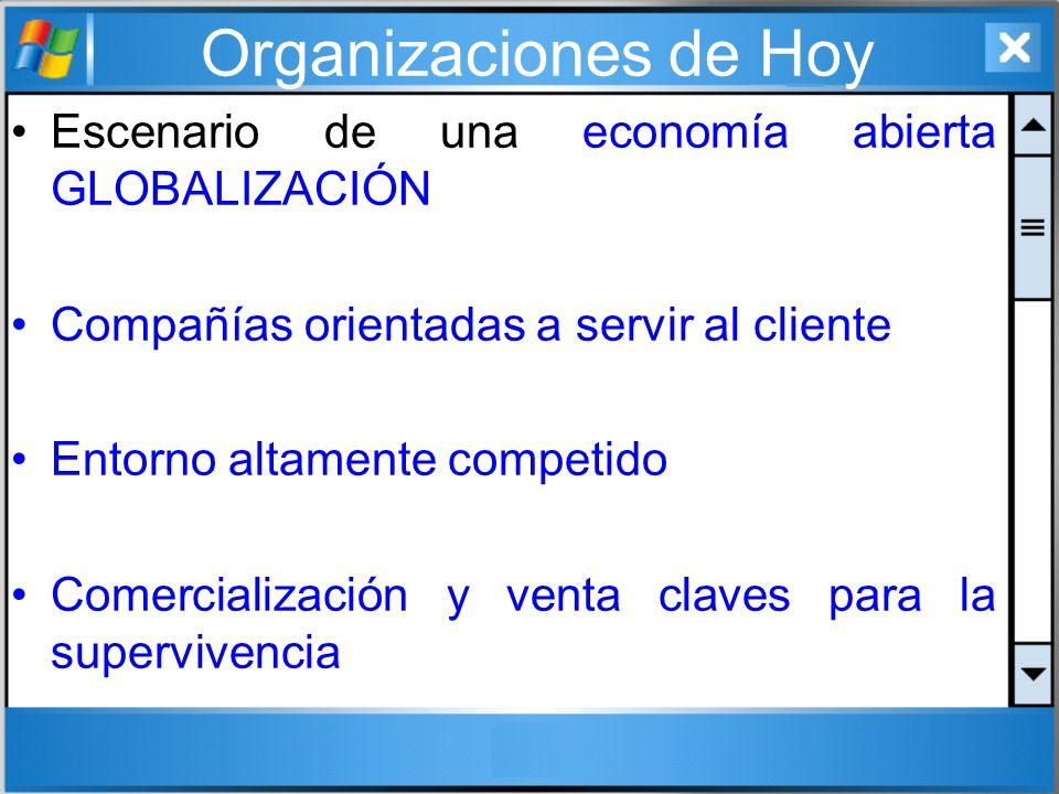 Organizaciones de Hoy Escenario de una economía abierta GLOBALIZACIÓN Compañías orientadas a servir al cliente Entorno altamente competido Comercializ