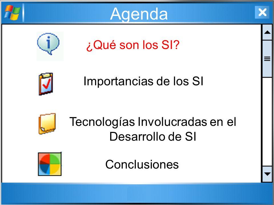 Agenda ¿Qué son los SI? Tecnologías Involucradas en el Desarrollo de SI Conclusiones Importancias de los SI