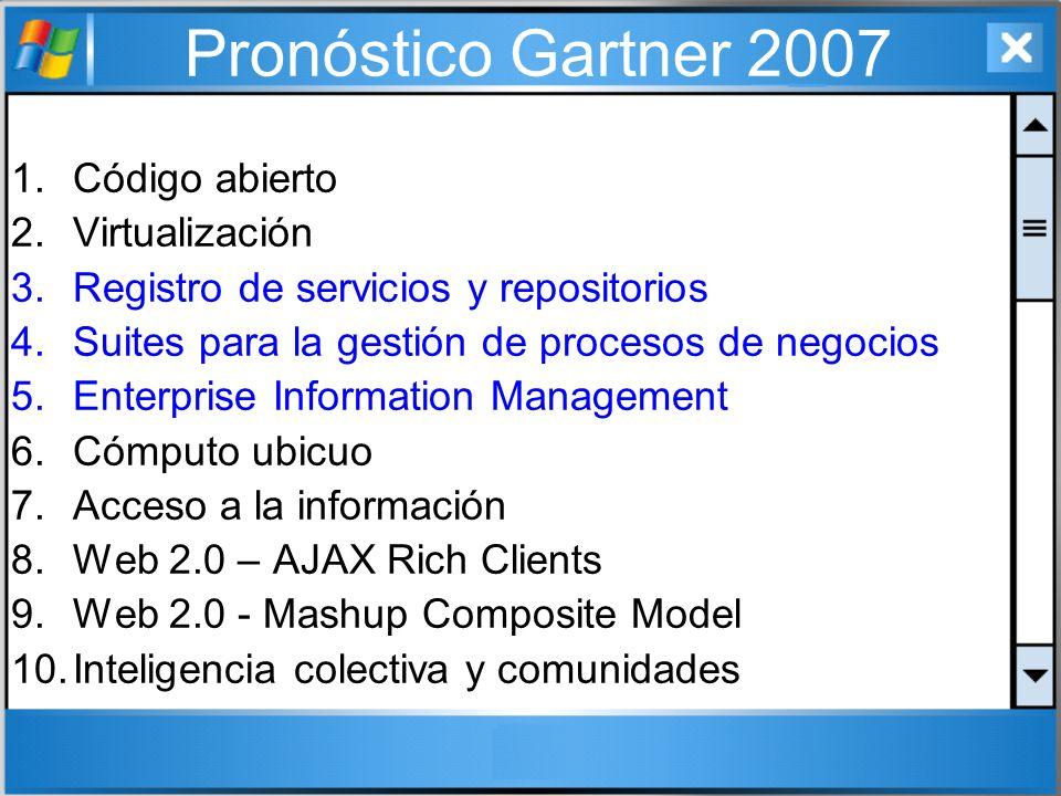 Pronóstico Gartner 2007 1.Código abierto 2.Virtualización 3.Registro de servicios y repositorios 4.Suites para la gestión de procesos de negocios 5.En