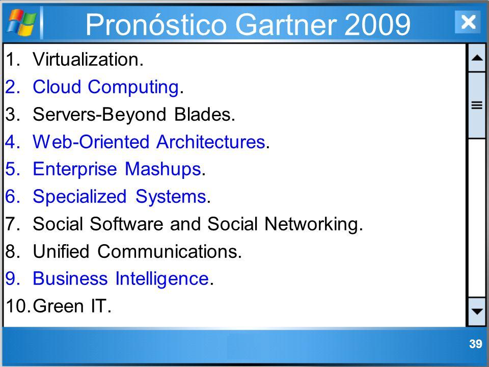 Pronóstico Gartner 2009 1.Virtualization. 2.Cloud Computing. 3.Servers-Beyond Blades. 4.Web-Oriented Architectures. 5.Enterprise Mashups. 6.Specialize