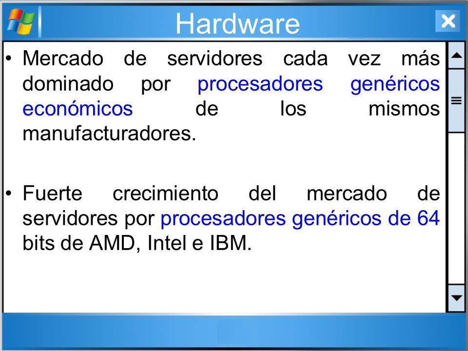 Hardware Mercado de servidores cada vez más dominado por procesadores genéricos económicos de los mismos manufacturadores. Fuerte crecimiento del merc