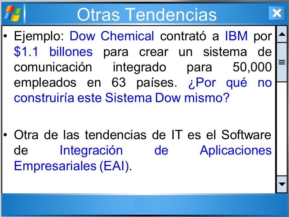 Otras Tendencias Ejemplo: Dow Chemical contrató a IBM por $1.1 billones para crear un sistema de comunicación integrado para 50,000 empleados en 63 pa