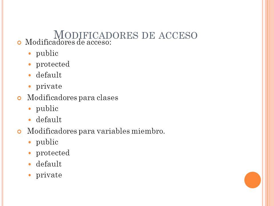 M ODIFICADORES DE ACCESO Modificadores de acceso: public protected default private Modificadores para clases public default Modificadores para variabl