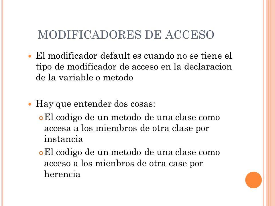 MODIFICADORES DE ACCESO El modificador default es cuando no se tiene el tipo de modificador de acceso en la declaracion de la variable o metodo Hay qu