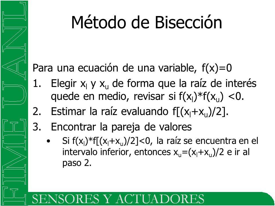 Método de Bisección Para una ecuación de una variable, f(x)=0 1.Elegir x l y x u de forma que la raíz de interés quede en medio, revisar si f(x l )*f(