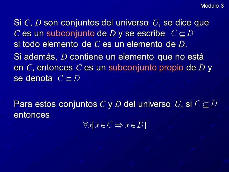Si C, D son conjuntos del universo U, se dice que C es un subconjunto de D y se escribe si todo elemento de C es un elemento de D.
