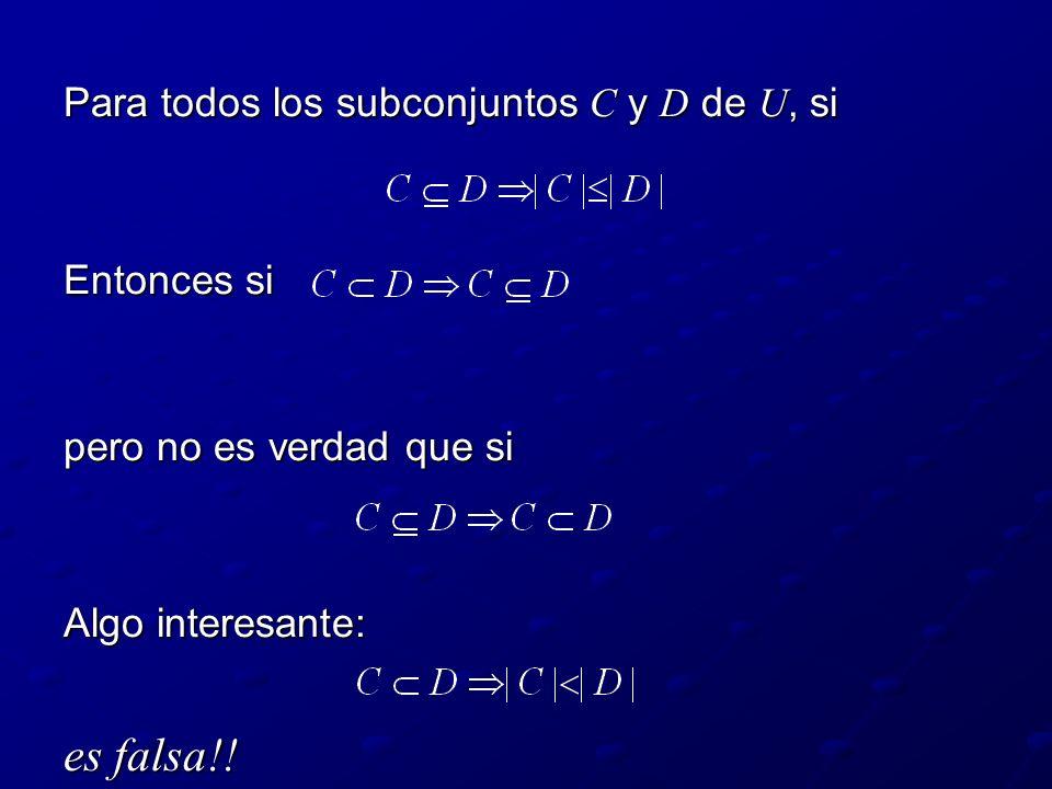 Para todos los subconjuntos C y D de U, si Entonces si pero no es verdad que si Algo interesante: es falsa!!