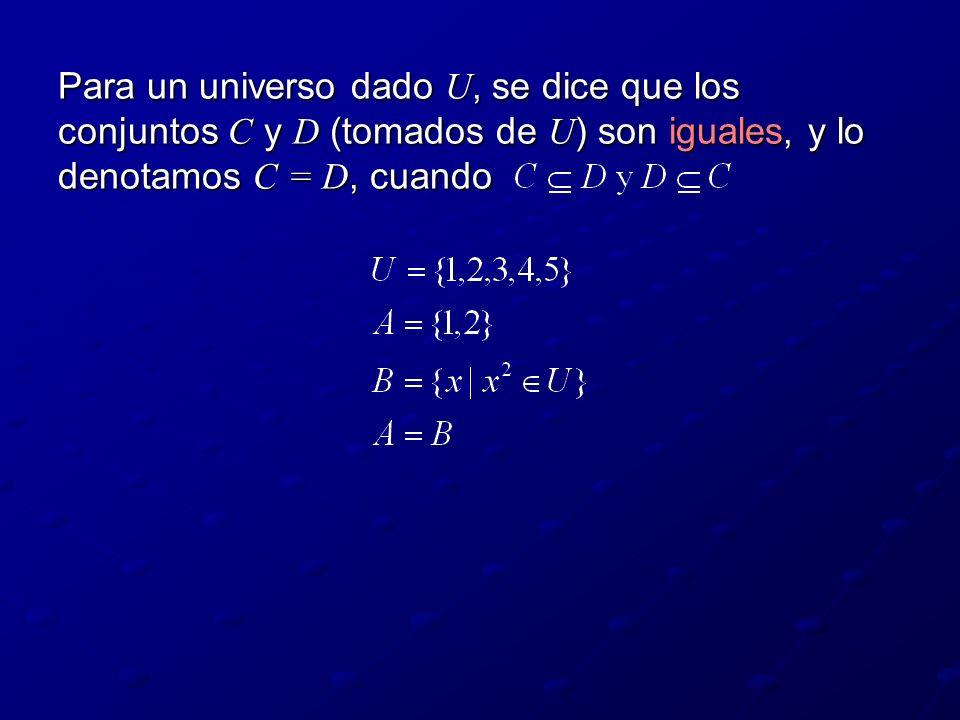 Para un universo dado U, se dice que los conjuntos C y D (tomados de U ) son iguales, y lo denotamos C = D, cuando