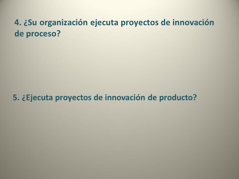 4. ¿Su organización ejecuta proyectos de innovación de proceso? 5. ¿Ejecuta proyectos de innovación de producto?