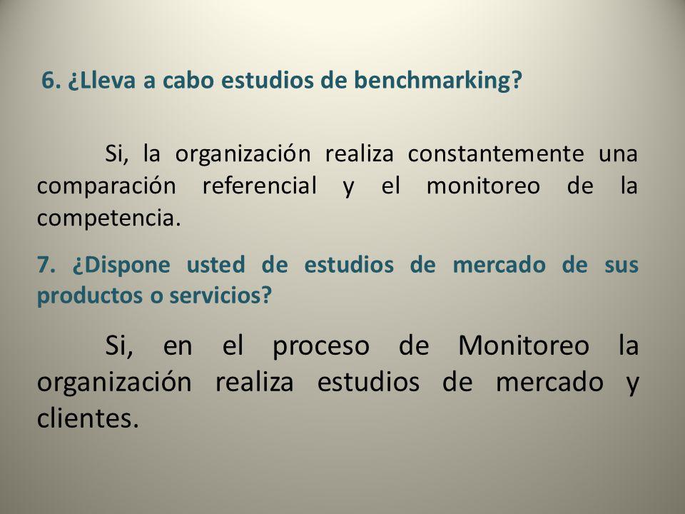 6. ¿Lleva a cabo estudios de benchmarking? Si, la organización realiza constantemente una comparación referencial y el monitoreo de la competencia. 7.