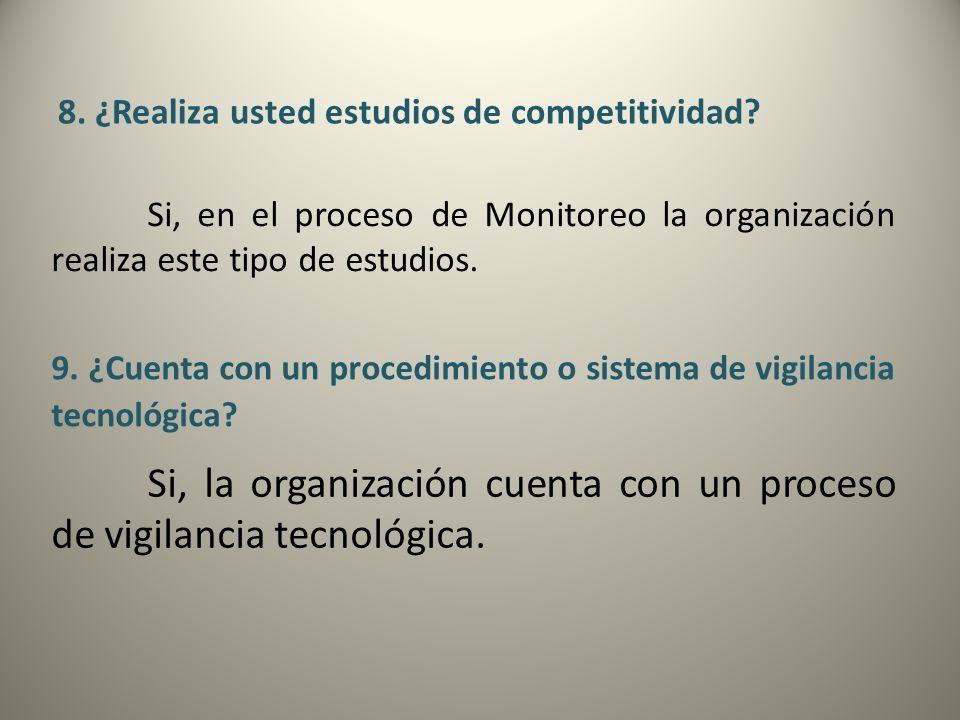 8. ¿Realiza usted estudios de competitividad? Si, en el proceso de Monitoreo la organización realiza este tipo de estudios. 9. ¿Cuenta con un procedim