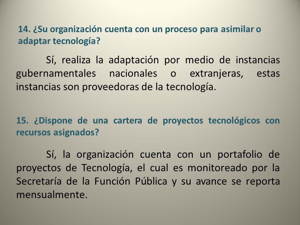14. ¿Su organización cuenta con un proceso para asimilar o adaptar tecnología? Sí, realiza la adaptación por medio de instancias gubernamentales nacio