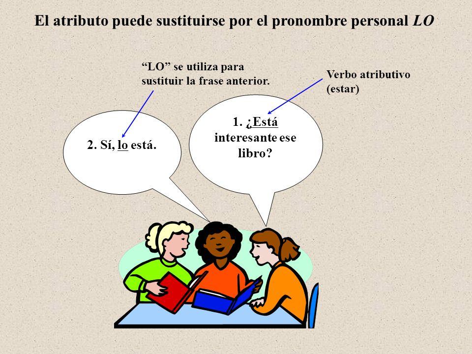 **** Pronombre LO – Con Ser y estar remiten al atributo subrayado… Completa las siguientes preguntas utilizando el pronombre LO: Modelo: ¿Está lista la cena.