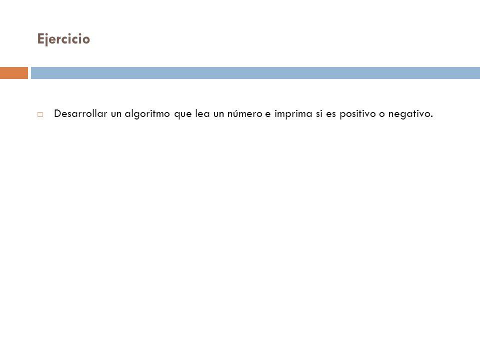 Ejercicio Inicio num=0 num>0 Si El numero indicado es positivo 1 No El numero indicado es negativo Fin 1