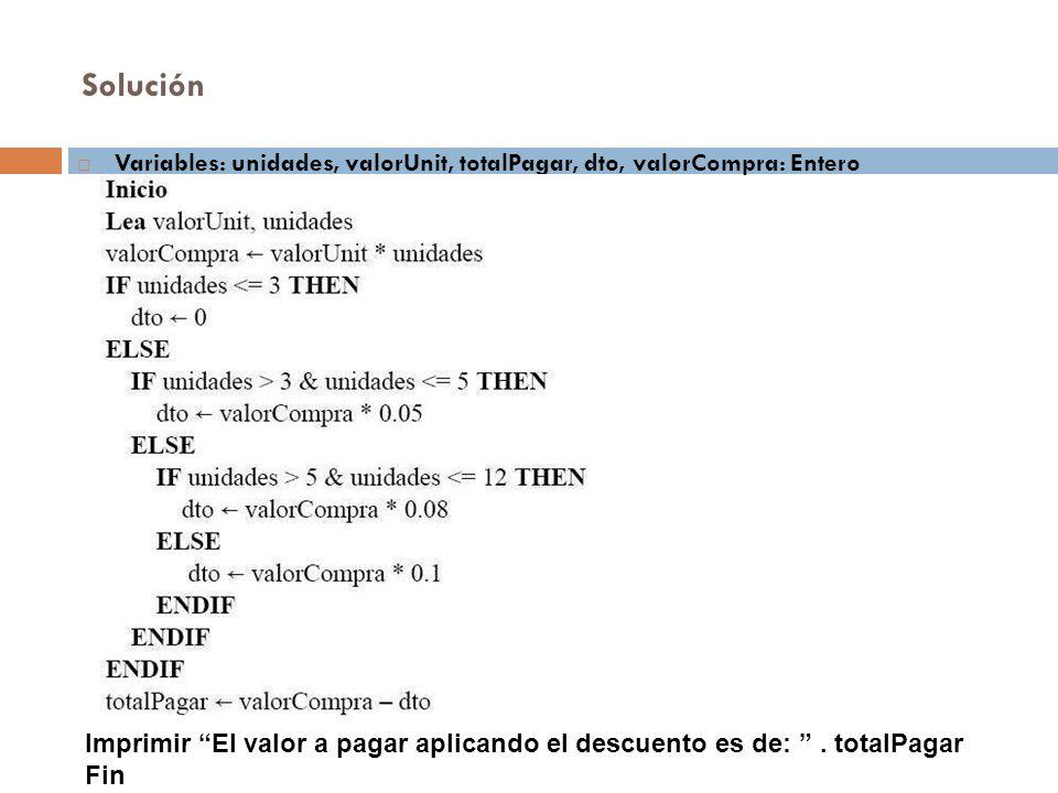 Solución Variables: unidades, valorUnit, totalPagar, dto, valorCompra: Entero Imprimir El valor a pagar aplicando el descuento es de:. totalPagar Fin