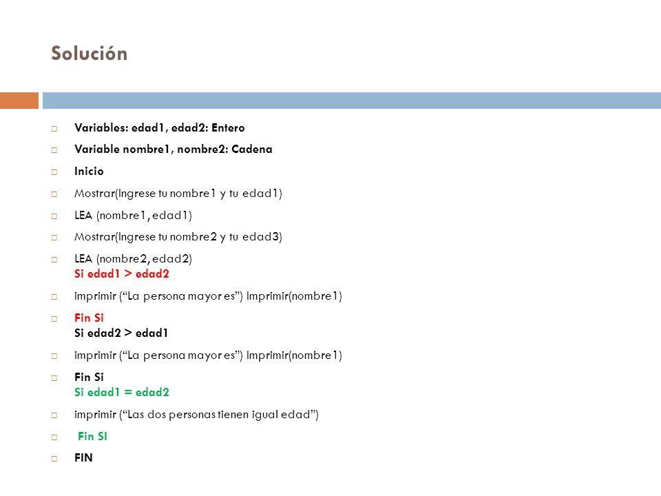 Solución Variables: edad1, edad2: Entero Variable nombre1, nombre2: Cadena Inicio Mostrar(Ingrese tu nombre1 y tu edad1) LEA (nombre1, edad1) Mostrar(