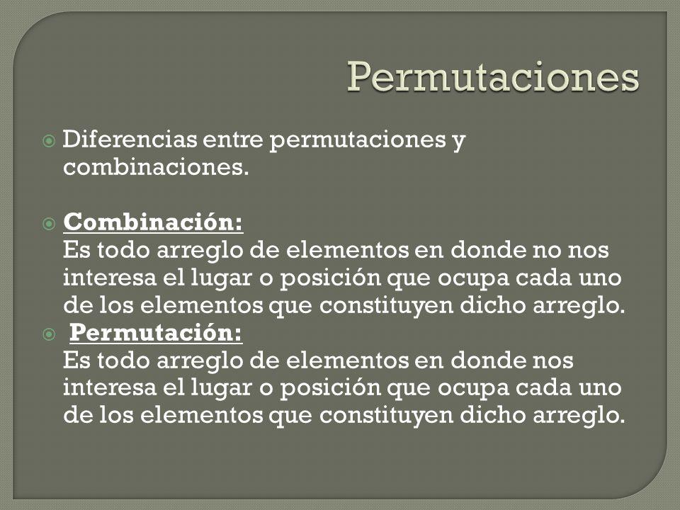 Diferencias entre permutaciones y combinaciones. Combinación: Es todo arreglo de elementos en donde no nos interesa el lugar o posición que ocupa cada