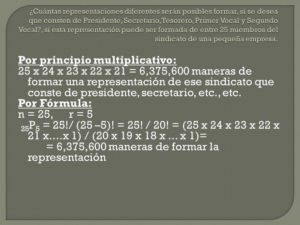 Por principio multiplicativo: 25 x 24 x 23 x 22 x 21 = 6,375,600 maneras de formar una representación de ese sindicato que conste de presidente, secre
