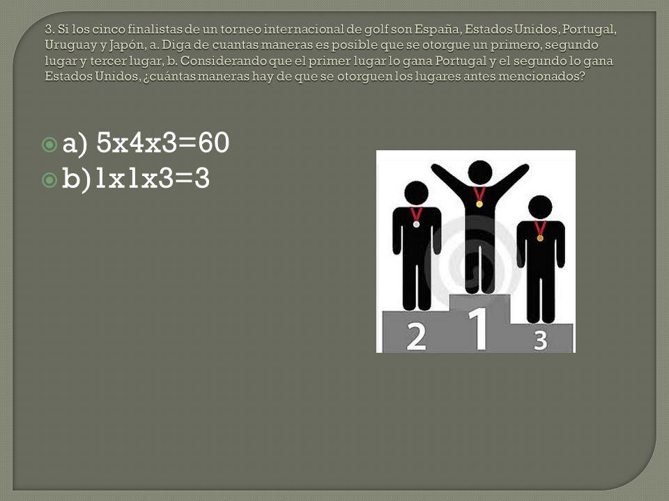 a) 5x4x3=60 b)1x1x3=3