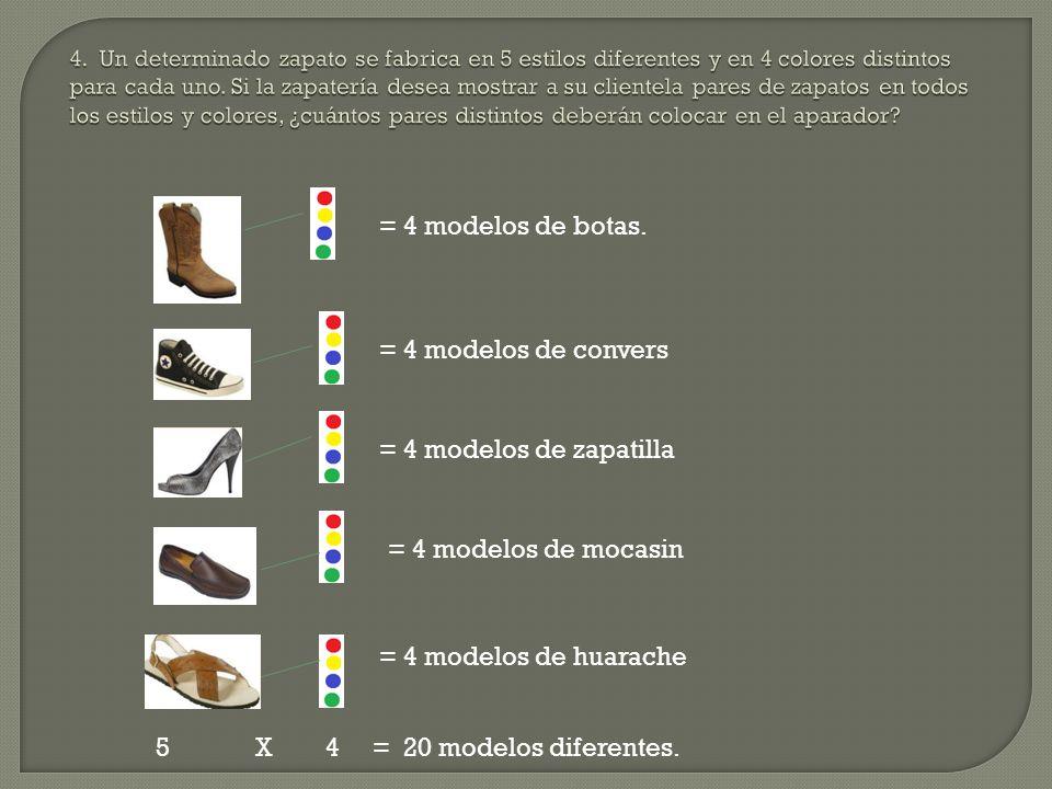 = 4 modelos de botas. = 4 modelos de convers = 4 modelos de zapatilla = 4 modelos de mocasin = 4 modelos de huarache 5 X 4 = 20 modelos diferentes.