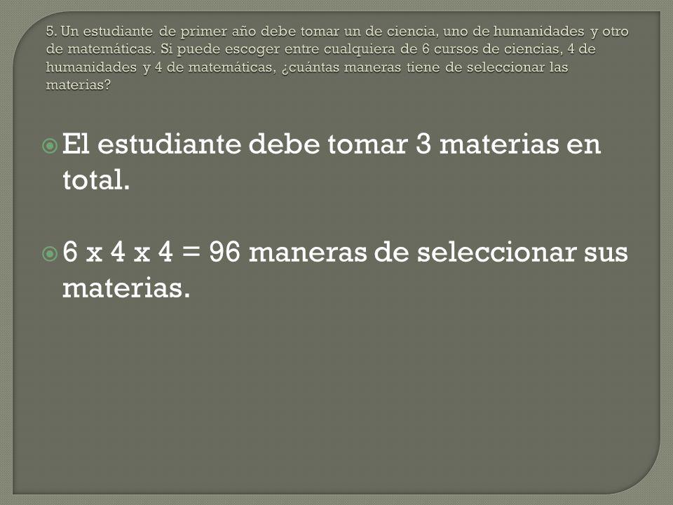 El estudiante debe tomar 3 materias en total. 6 x 4 x 4 = 96 maneras de seleccionar sus materias.