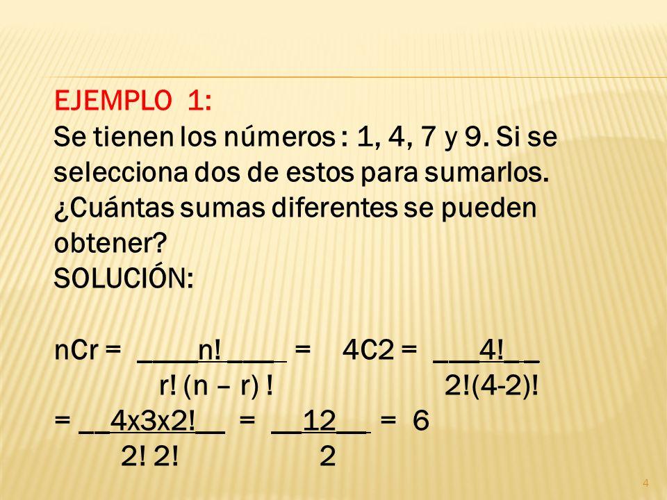 Notación: Si de n objetos diferentes se seleccionan r, sin interesar el orden, cada selección de r elementos es una combinación y el número total de combinaciones que pueden obtenerse se denota de la siguiente manera.