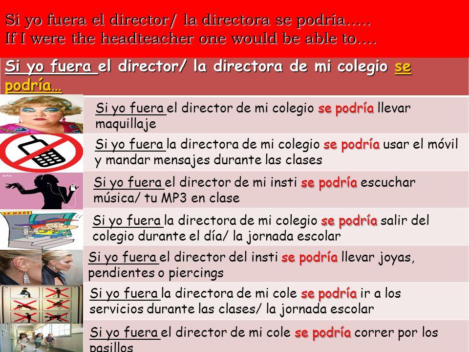 Si yo fuera el director/ la directora de mi colegio se podría… Si yo fuera el director/ la directora se podría….. If I were the headteacher one would