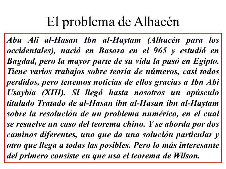 El problema de Alhacén Abu Ali al-Hasan Ibn al-Haytam (Alhacén para los occidentales), nació en Basora en el 965 y estudió en Bagdad, pero la mayor pa
